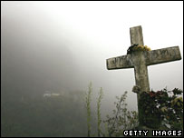 A cross at the side of the road