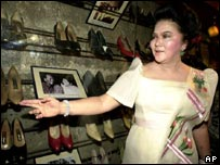 Mrs Marcos opening a museum full of her shoes