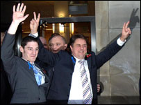 Mark Collett and Nick Griffin emerge triumphant from court