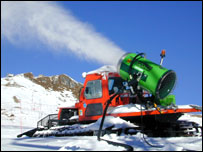 Snow cannons pump out artificial snow