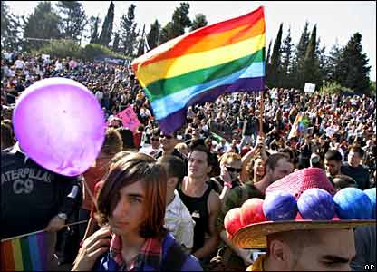 Participants of the gay pride happening in Jerusalem
