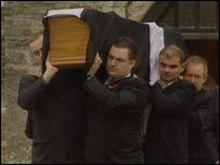 Gareth Nicholas's coffin with St Piran's flag