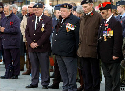 British war veterans observe a two-minute silence in Sheffield city centre