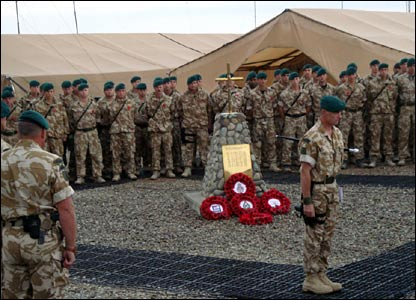 Troops in Afghanistan at memorial