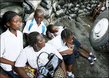 Schoolchildren taking cover