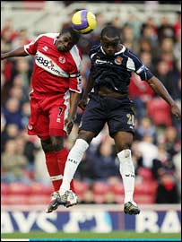 George Boateng of Middlesbrough and Nigel Reo-Coker of West Ham United