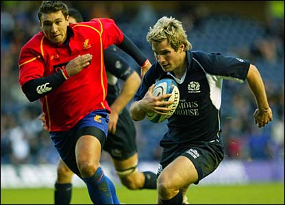 Phil Godman runs in another try for Scotland