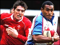 Pacific Islands try-scorer Kameli Ratuvo leaves Wales centre James Hook in his wake