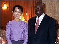 Aung San Suu Kyi and Ibrahim Gambari