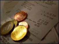 Euro coins and bill