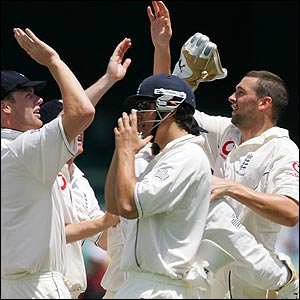 Steve Harmison (right) celebrates the wicket of Ed Cowan with his team-mates