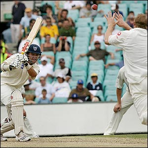 Matthew Hoggard fails to hold on to a tough return catch off Phil Jaques