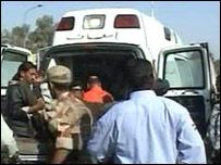 Ambulance at scene of bombing