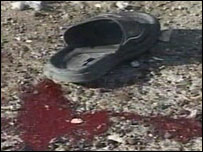 Victim's shoe after attack on police recruitment centre
