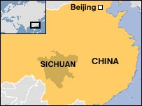 Map showing Sichuan province, China