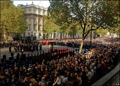 Remembrance Day crowds in Whitehall