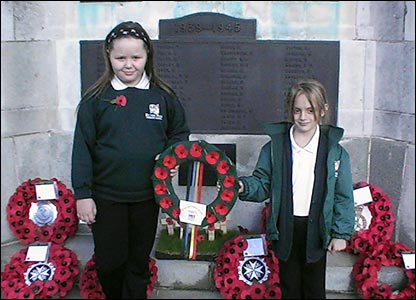 Schoolgirls lay wreaths Ryton Park school, Worksop, Nottingham