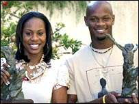 Sanya Richards and Asafa Powell