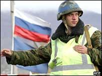 Российский миротворец на границе Южной Осетии и Грузии