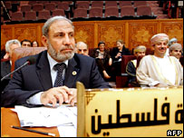 Palestinian foreign minister Mahmoud Zahar at an emergency meeting in Cairo