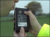 Motorist being breathalysed