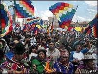 Ind�genas bolivianos en La Paz en octubre de 2006