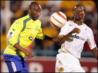 Peter Ndlovu (left) and Arthur Zwane of Kaizer Chiefs