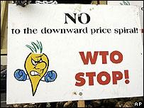 Cartel contra la Organización Mundial del Comercio (WTO en sus siglas en inglés)