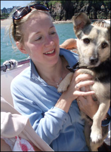 Elisabeth Eldridge and her dog Grace on the boat over to Caldey Island.