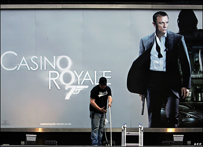 The Odeon cinema in London's Leicester Square prepares for the new James Bond film