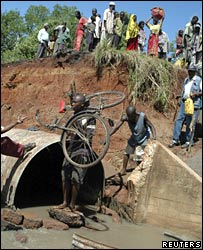 A bridge collapses in Kwale district, Kenya