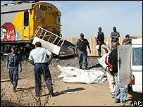 Scene of train accident near Cape Town, South Africa