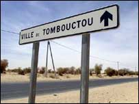 Sign for Timbuktu, Mali