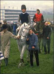 Dessie is led to the winner's enclosure at Cheltenham after winning the Gold Cup in 1989