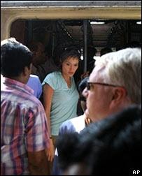 Angelina Jolie on Mumbai train