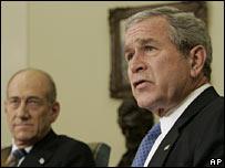 President Bush (right) with Israeli PM Ehud Olmert (left)