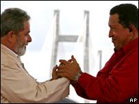 Venezuelan President Hugo Chavez (right) with Brazilian counterpart Luiz Inacio Lula da Silva