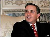 Colombian President Alvaro Uribe (file image)