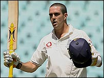 Kevin Pietersen celebrates his century in Sydney