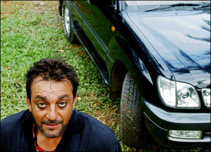 Sanjay Dutt on the sets of a film with his favourite black SUV