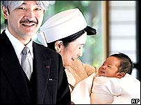 Prince Akishino and his wife Princess Keiko with Prince Hisahito