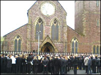 Mourners gather outside Christ Church, Ebbw Vale