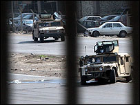 US military vehicles patrol in Baghdad