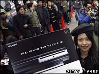 Woman holding up a PS3