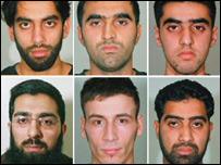 Clockwise (from top left): Jawad Akbar, Omar Khyam, Shujah Mahmood, Waheed Mahmood, Anthony Garcia, Salahuddin Amin.