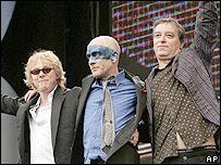 Mike Mills, Micheal Stipe, and Peter Buck of REM at Live 8