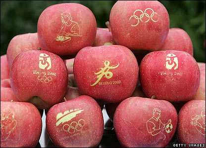 Apples with Olympic patterns at a festival in Beijing on 24 October 2006