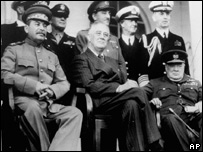 The Tehran conference of 1943. Franklin D Roosevelt (centre) meets Winston Churchill (right, seated) and Joseph Stalin (seated, left)