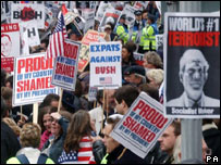 Protests at the visit of US President George W Bush in London in 2003