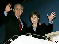 US President George W Bush and First Lady Laura Bush
